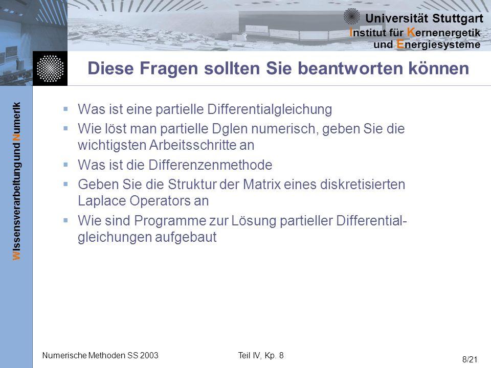 Universität Stuttgart Wissensverarbeitung und Numerik I nstitut für K ernenergetik und E nergiesysteme Numerische Methoden SS 2003Teil IV, Kp. 8 8/21