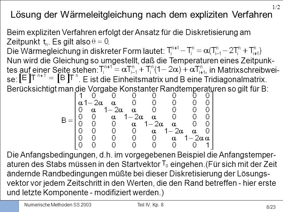 Universität Stuttgart Wissensverarbeitung und Numerik I nstitut für K ernenergetik und E nergiesysteme Numerische Methoden SS 2003Teil IV, Kp. 8 8/23