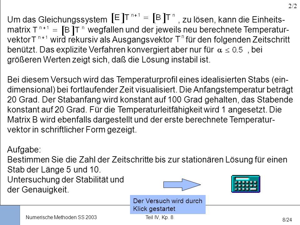 Universität Stuttgart Wissensverarbeitung und Numerik I nstitut für K ernenergetik und E nergiesysteme Numerische Methoden SS 2003Teil IV, Kp. 8 8/24