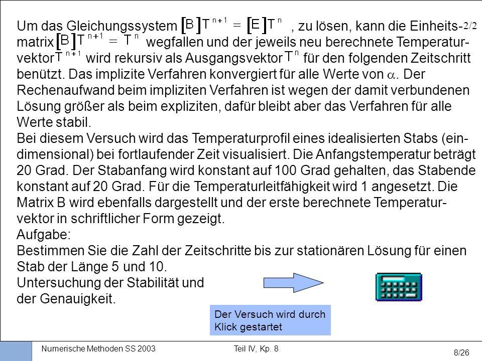 Universität Stuttgart Wissensverarbeitung und Numerik I nstitut für K ernenergetik und E nergiesysteme Numerische Methoden SS 2003Teil IV, Kp. 8 8/26