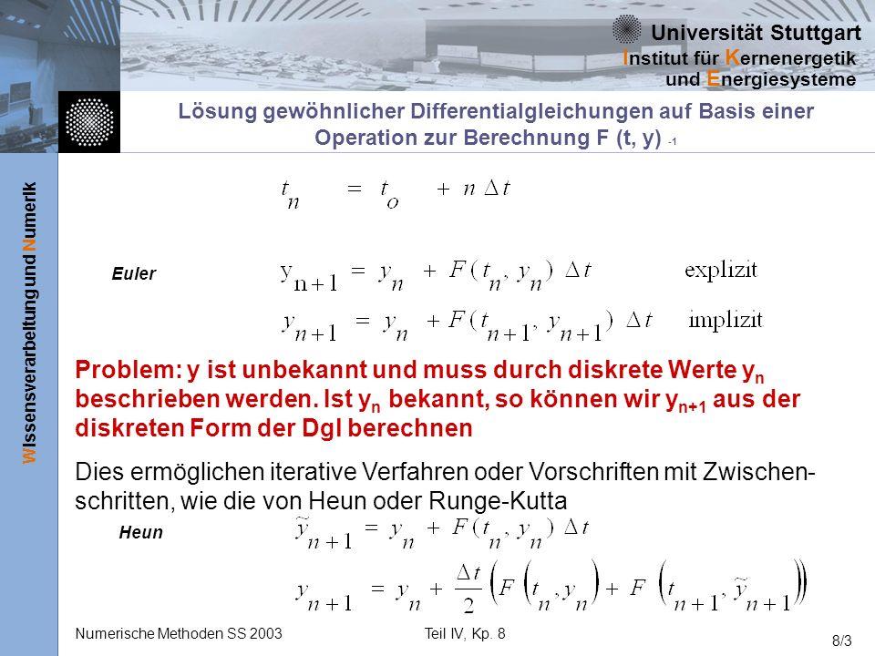 Universität Stuttgart Wissensverarbeitung und Numerik I nstitut für K ernenergetik und E nergiesysteme Numerische Methoden SS 2003Teil IV, Kp. 8 8/3 L