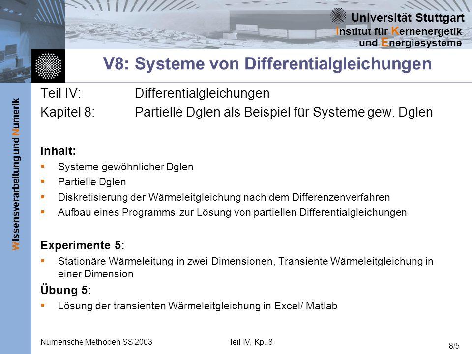 Universität Stuttgart Wissensverarbeitung und Numerik I nstitut für K ernenergetik und E nergiesysteme Numerische Methoden SS 2003Teil IV, Kp. 8 8/5 V
