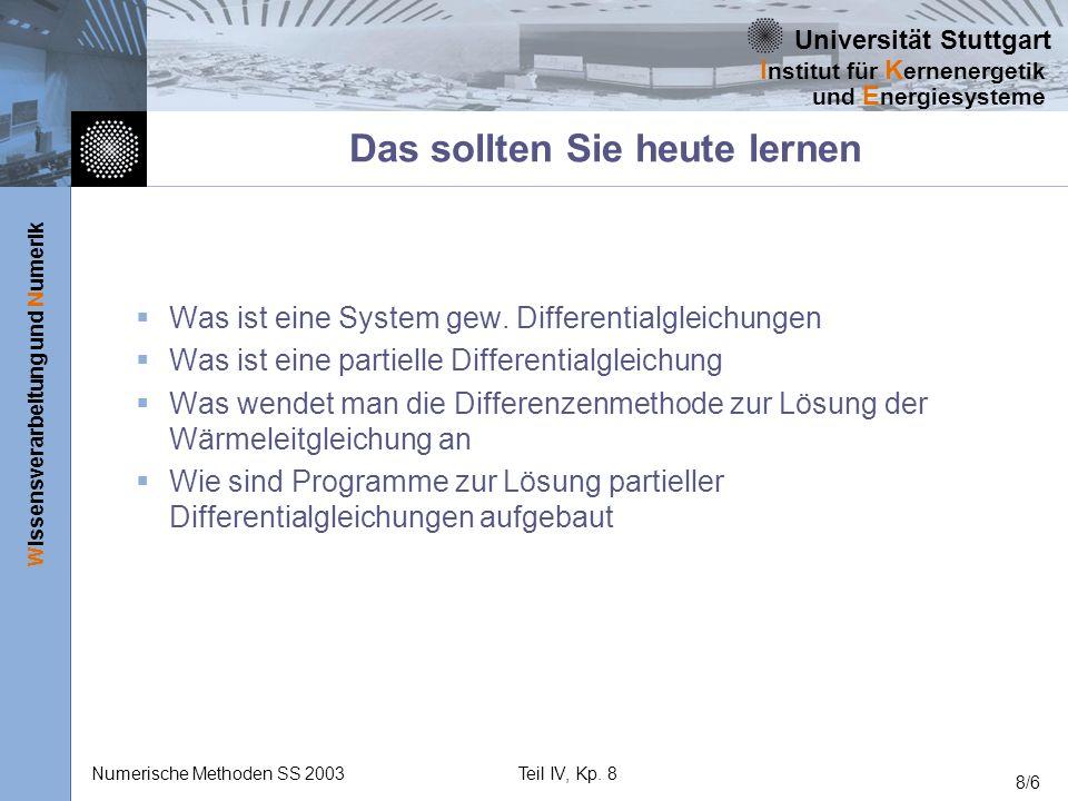Universität Stuttgart Wissensverarbeitung und Numerik I nstitut für K ernenergetik und E nergiesysteme Numerische Methoden SS 2003Teil IV, Kp. 8 8/6 D