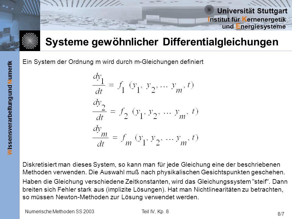 Universität Stuttgart Wissensverarbeitung und Numerik I nstitut für K ernenergetik und E nergiesysteme Numerische Methoden SS 2003Teil IV, Kp. 8 8/7 S