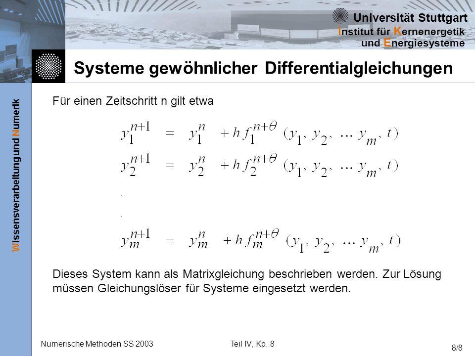 Universität Stuttgart Wissensverarbeitung und Numerik I nstitut für K ernenergetik und E nergiesysteme Numerische Methoden SS 2003Teil IV, Kp. 8 8/8 S