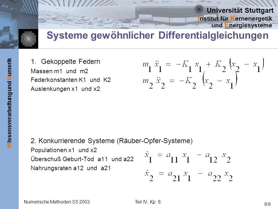 Universität Stuttgart Wissensverarbeitung und Numerik I nstitut für K ernenergetik und E nergiesysteme Numerische Methoden SS 2003Teil IV, Kp. 8 8/9 S