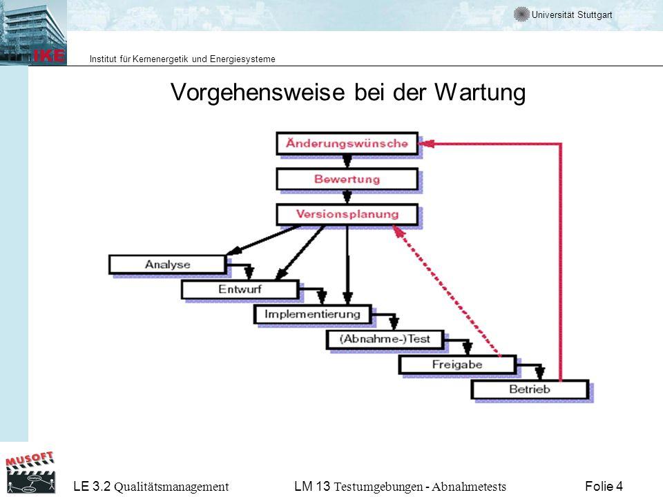 Universität Stuttgart Institut für Kernenergetik und Energiesysteme LE 3.2 Qualitätsmanagement Folie 4LM 13 Testumgebungen - Abnahmetests Vorgehensweise bei der Wartung