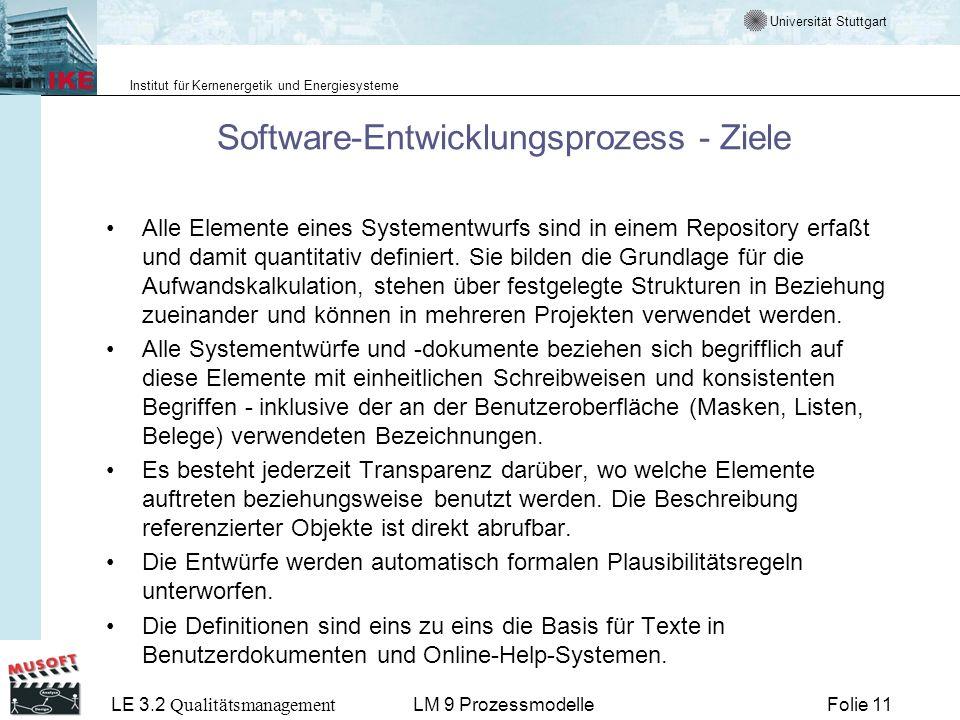 Universität Stuttgart Institut für Kernenergetik und Energiesysteme LE 3.2 Qualitätsmanagement Folie 11LM 9 Prozessmodelle Software-Entwicklungsprozes