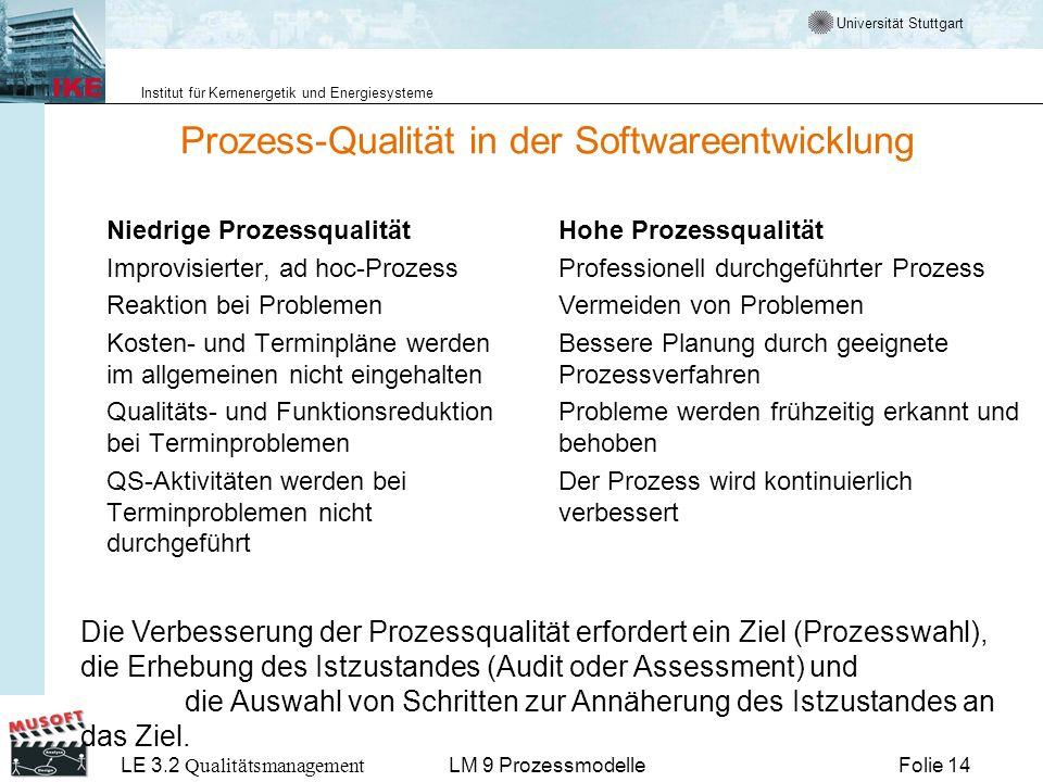Universität Stuttgart Institut für Kernenergetik und Energiesysteme LE 3.2 Qualitätsmanagement Folie 14LM 9 Prozessmodelle Prozess-Qualität in der Sof