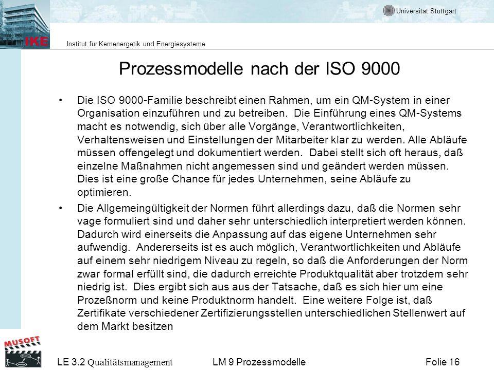 Universität Stuttgart Institut für Kernenergetik und Energiesysteme LE 3.2 Qualitätsmanagement Folie 16LM 9 Prozessmodelle Prozessmodelle nach der ISO
