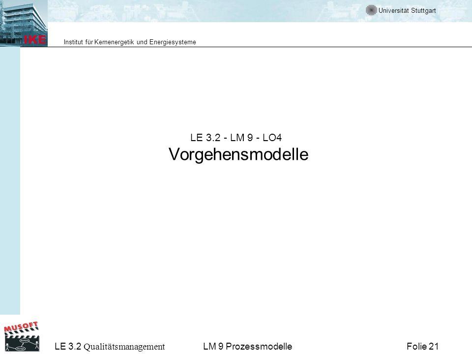 Universität Stuttgart Institut für Kernenergetik und Energiesysteme LE 3.2 Qualitätsmanagement Folie 21LM 9 Prozessmodelle LE 3.2 - LM 9 - LO4 Vorgehe
