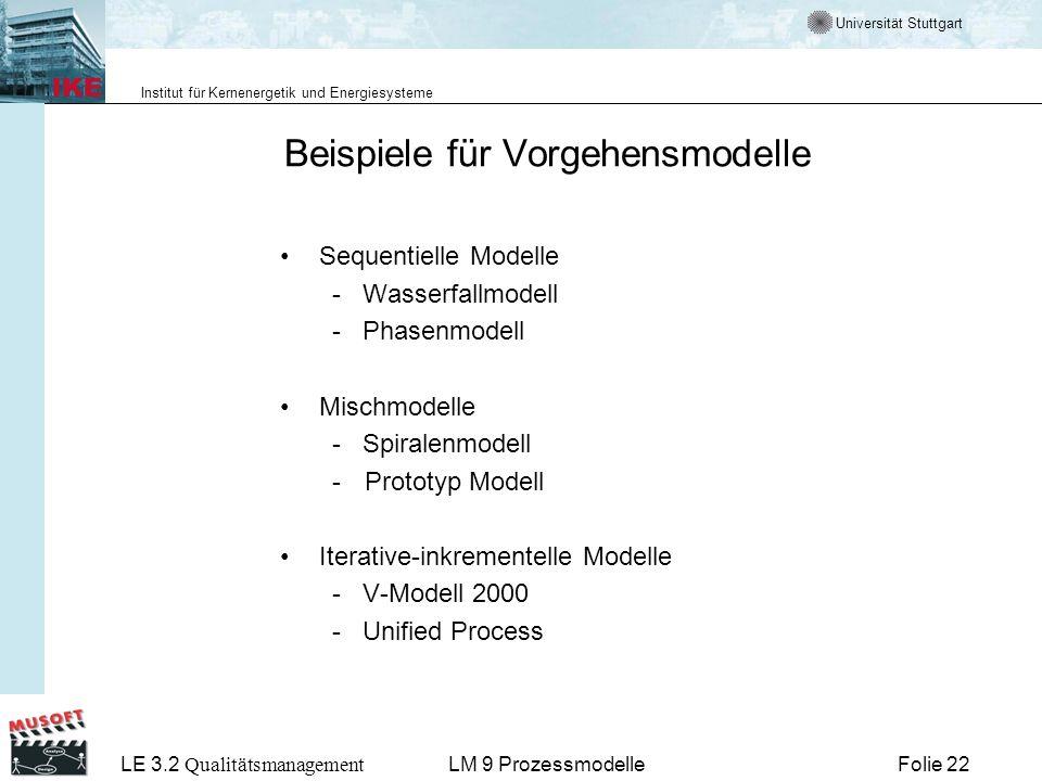 Universität Stuttgart Institut für Kernenergetik und Energiesysteme LE 3.2 Qualitätsmanagement Folie 22LM 9 Prozessmodelle Beispiele für Vorgehensmode