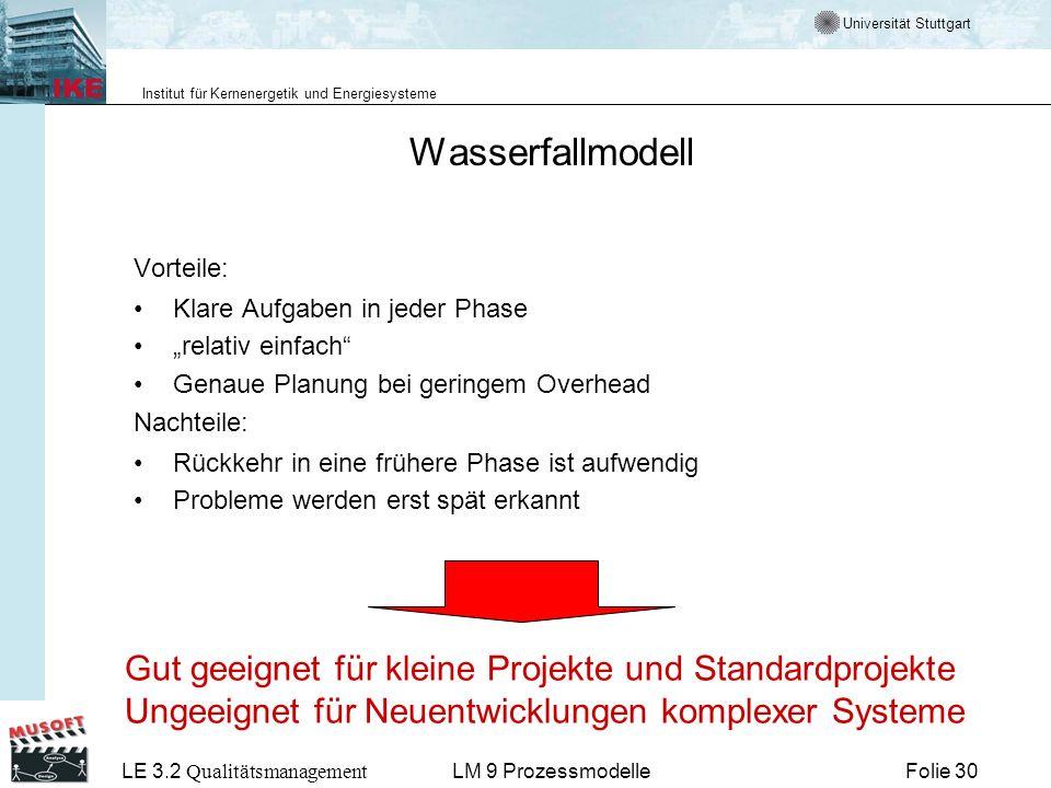 Universität Stuttgart Institut für Kernenergetik und Energiesysteme LE 3.2 Qualitätsmanagement Folie 30LM 9 Prozessmodelle Wasserfallmodell Vorteile: