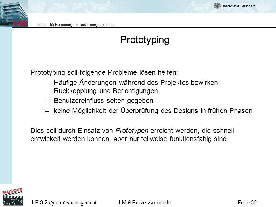 Universität Stuttgart Institut für Kernenergetik und Energiesysteme LE 3.2 Qualitätsmanagement Folie 32LM 9 Prozessmodelle Prototyping Prototyping sol
