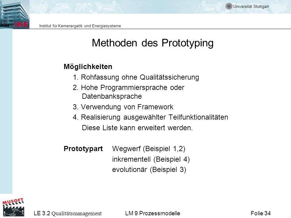 Universität Stuttgart Institut für Kernenergetik und Energiesysteme LE 3.2 Qualitätsmanagement Folie 34LM 9 Prozessmodelle Methoden des Prototyping Mö
