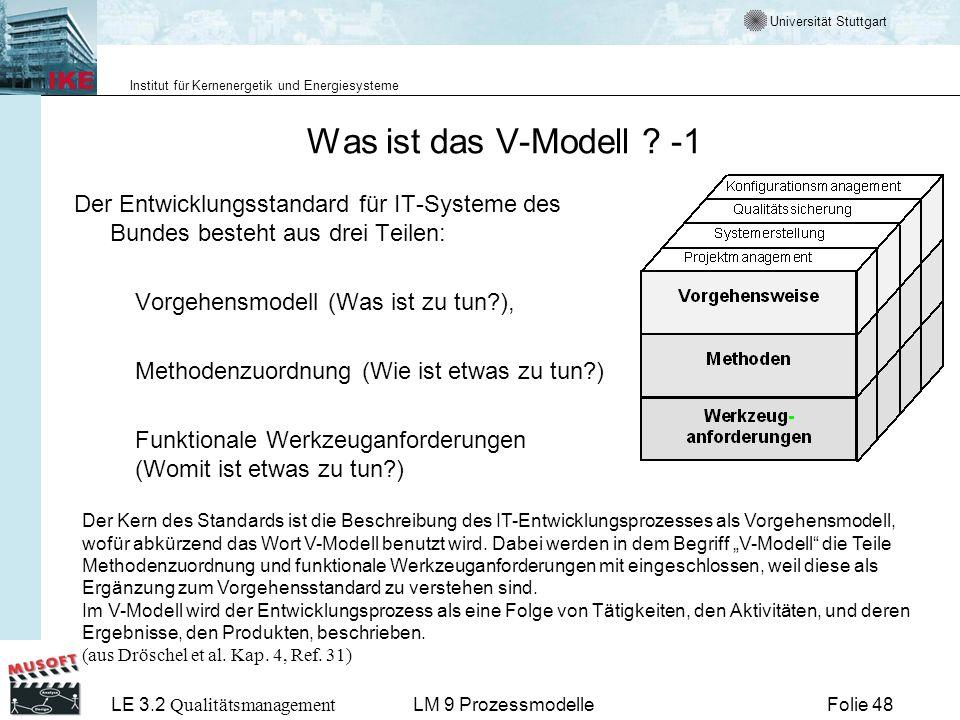 Universität Stuttgart Institut für Kernenergetik und Energiesysteme LE 3.2 Qualitätsmanagement Folie 48LM 9 Prozessmodelle Was ist das V-Modell ? -1 D