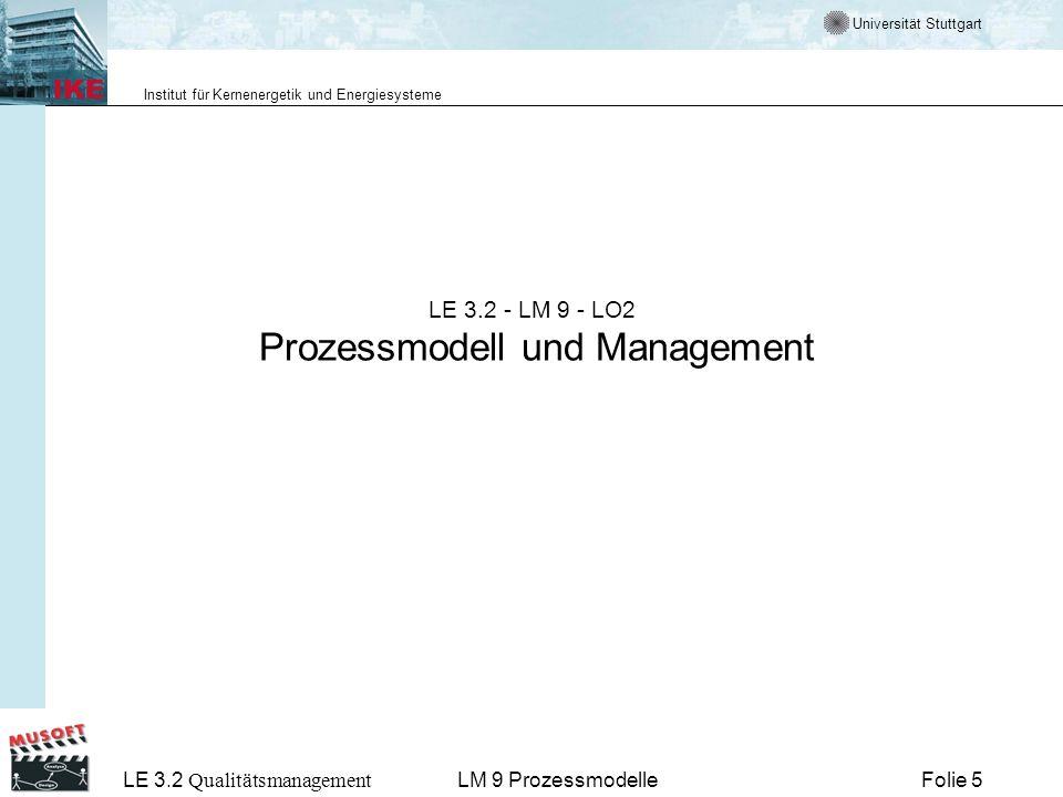 Universität Stuttgart Institut für Kernenergetik und Energiesysteme LE 3.2 Qualitätsmanagement Folie 16LM 9 Prozessmodelle Prozessmodelle nach der ISO 9000 Die ISO 9000-Familie beschreibt einen Rahmen, um ein QM-System in einer Organisation einzuführen und zu betreiben.