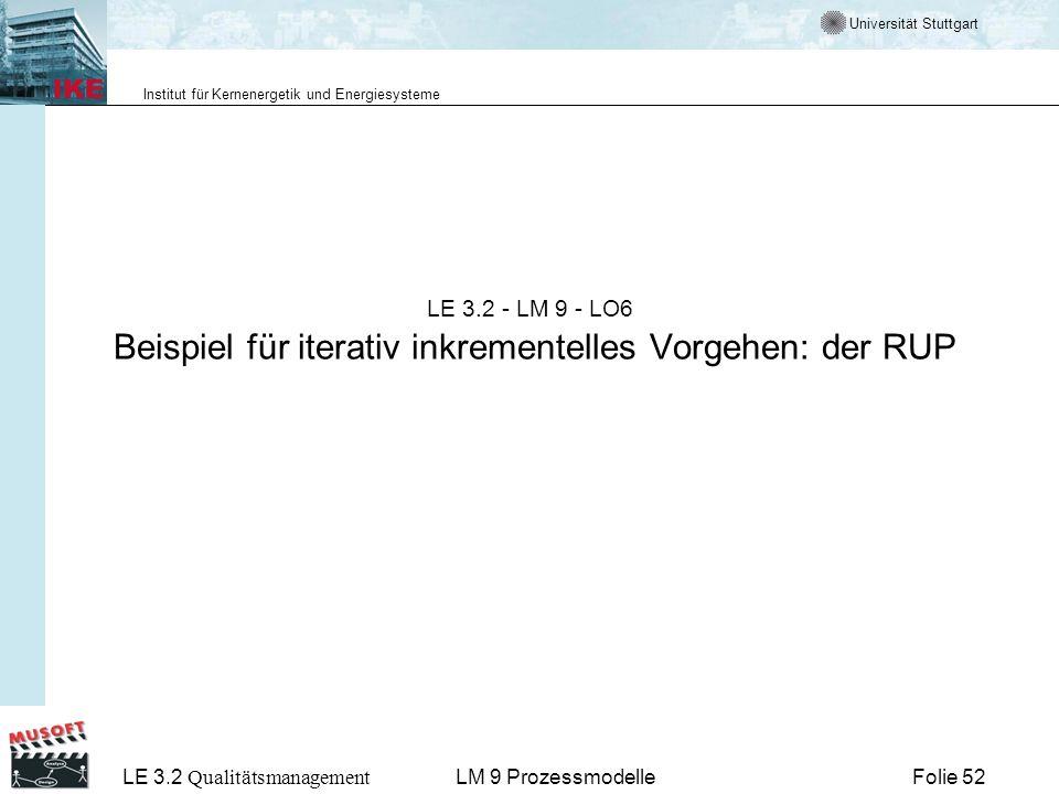 Universität Stuttgart Institut für Kernenergetik und Energiesysteme LE 3.2 Qualitätsmanagement Folie 52LM 9 Prozessmodelle LE 3.2 - LM 9 - LO6 Beispie