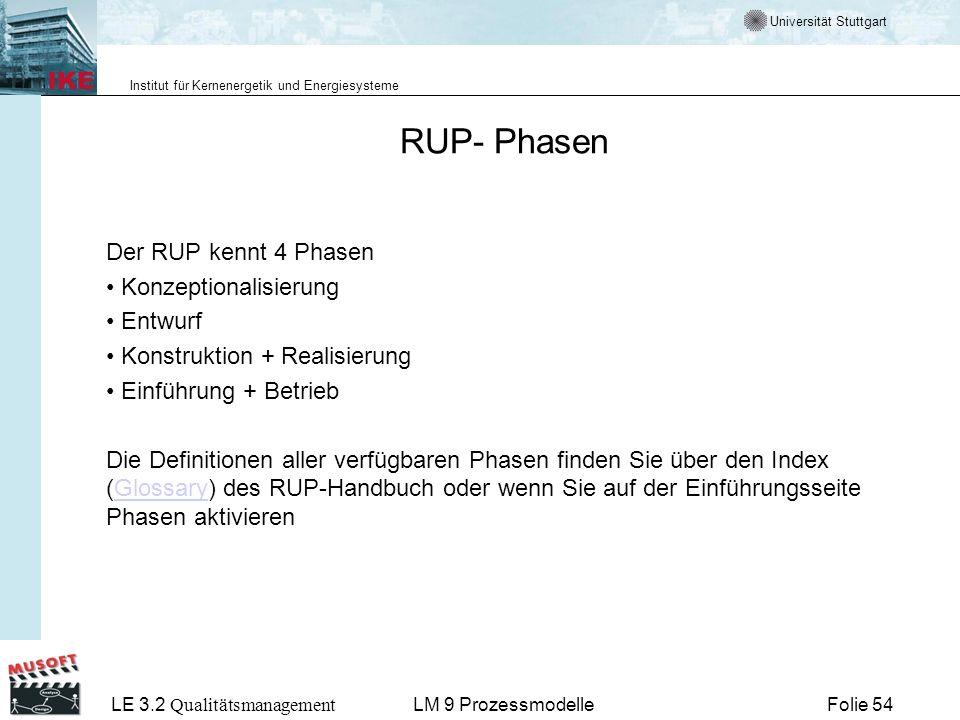 Universität Stuttgart Institut für Kernenergetik und Energiesysteme LE 3.2 Qualitätsmanagement Folie 54LM 9 Prozessmodelle RUP- Phasen Der RUP kennt 4