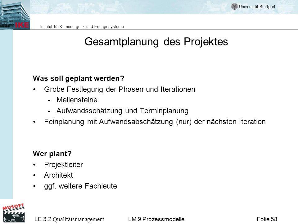 Universität Stuttgart Institut für Kernenergetik und Energiesysteme LE 3.2 Qualitätsmanagement Folie 58LM 9 Prozessmodelle Gesamtplanung des Projektes