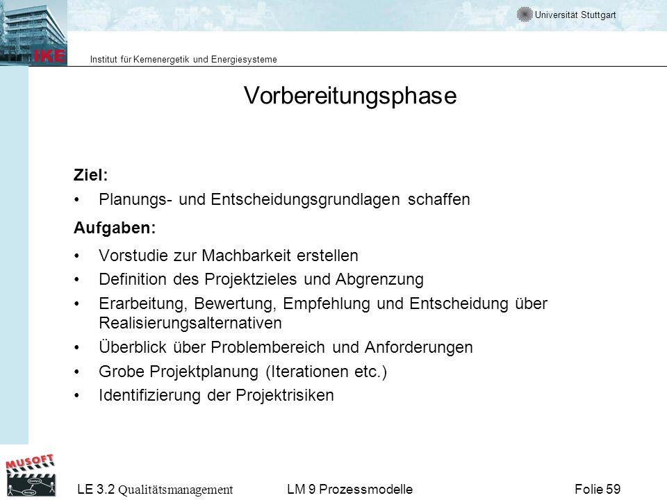 Universität Stuttgart Institut für Kernenergetik und Energiesysteme LE 3.2 Qualitätsmanagement Folie 59LM 9 Prozessmodelle Vorbereitungsphase Ziel: Pl
