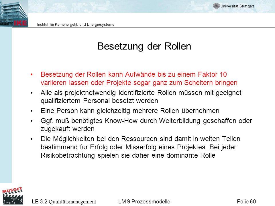 Universität Stuttgart Institut für Kernenergetik und Energiesysteme LE 3.2 Qualitätsmanagement Folie 60LM 9 Prozessmodelle Besetzung der Rollen Besetz