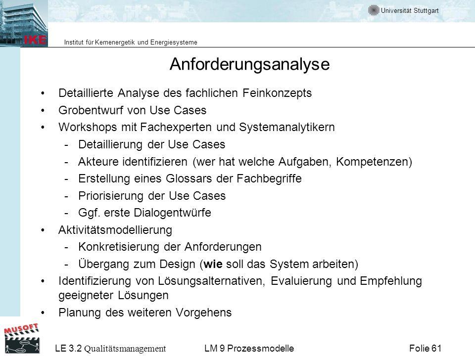 Universität Stuttgart Institut für Kernenergetik und Energiesysteme LE 3.2 Qualitätsmanagement Folie 61LM 9 Prozessmodelle Anforderungsanalyse Detaill