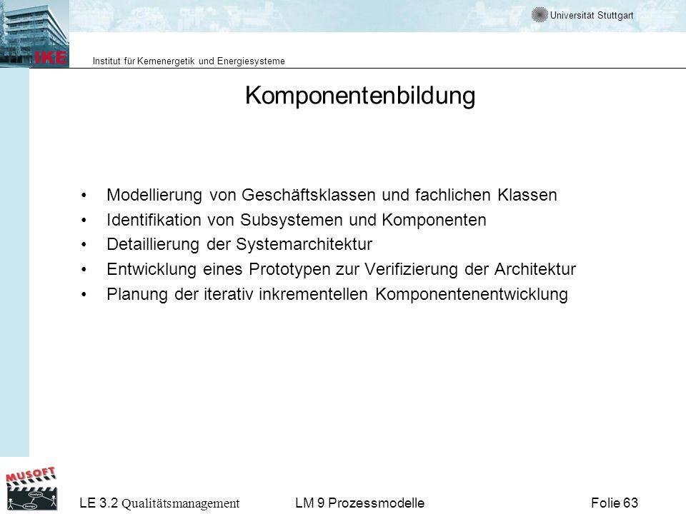Universität Stuttgart Institut für Kernenergetik und Energiesysteme LE 3.2 Qualitätsmanagement Folie 63LM 9 Prozessmodelle Komponentenbildung Modellie