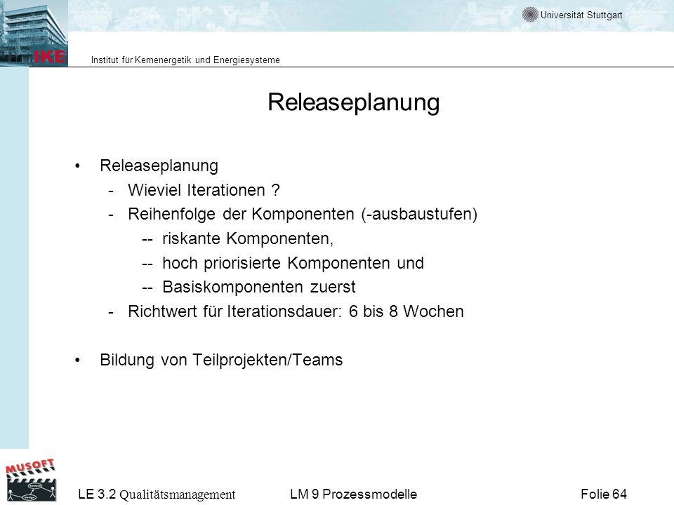 Universität Stuttgart Institut für Kernenergetik und Energiesysteme LE 3.2 Qualitätsmanagement Folie 64LM 9 Prozessmodelle Releaseplanung - Wieviel It