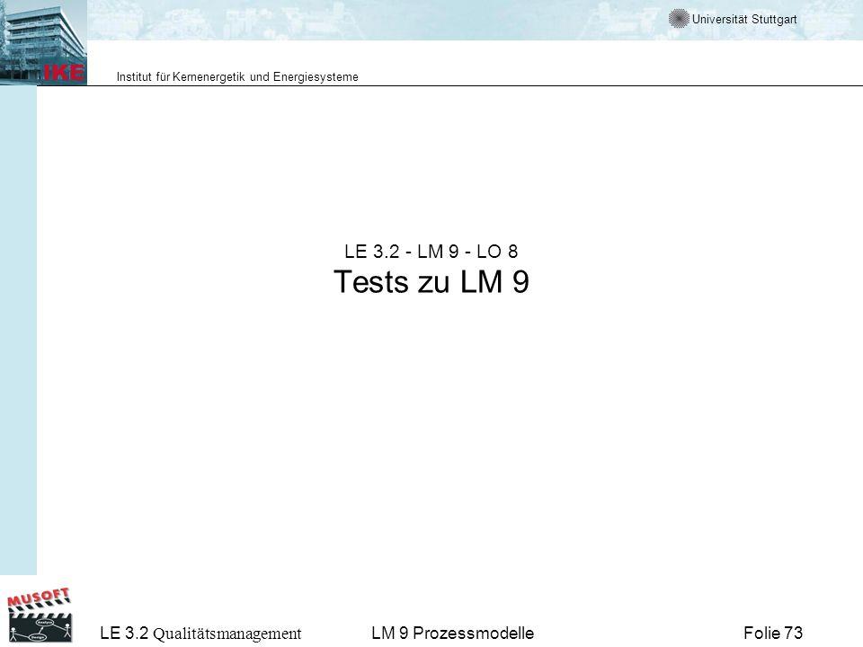 Universität Stuttgart Institut für Kernenergetik und Energiesysteme LE 3.2 Qualitätsmanagement Folie 73LM 9 Prozessmodelle LE 3.2 - LM 9 - LO 8 Tests