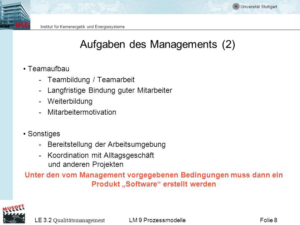 Universität Stuttgart Institut für Kernenergetik und Energiesysteme LE 3.2 Qualitätsmanagement Folie 29LM 9 Prozessmodelle Beispiel: Wasserfallmodell Voraussetzungen: Stabiles Umfeld (z.B.