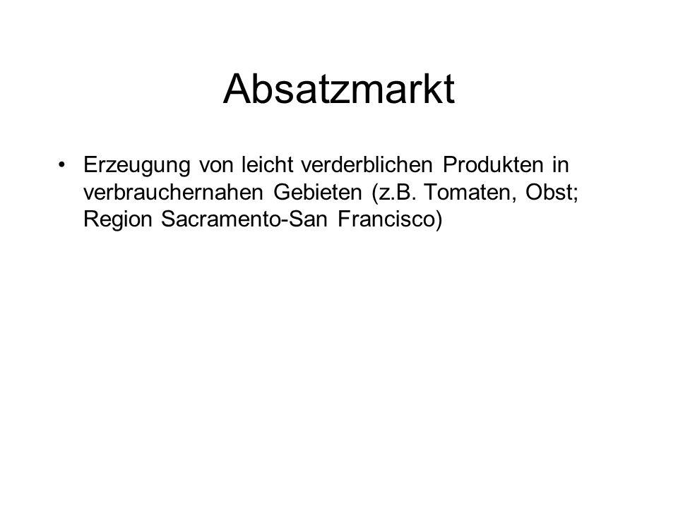 Absatzmarkt Erzeugung von leicht verderblichen Produkten in verbrauchernahen Gebieten (z.B. Tomaten, Obst; Region Sacramento-San Francisco)
