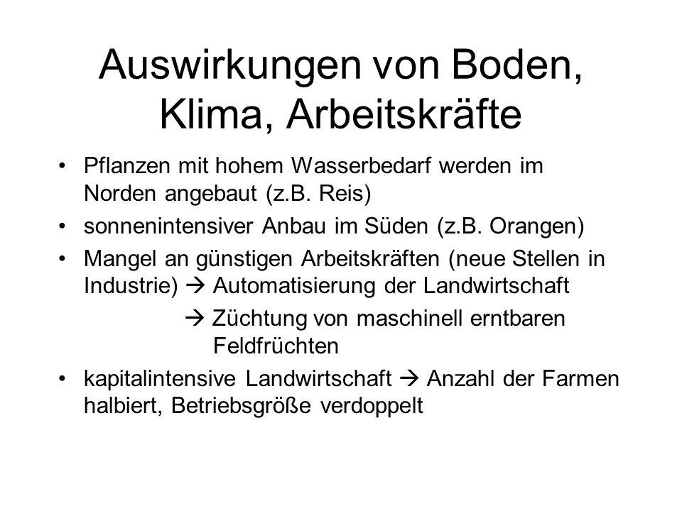 Auswirkungen von Boden, Klima, Arbeitskräfte Pflanzen mit hohem Wasserbedarf werden im Norden angebaut (z.B. Reis) sonnenintensiver Anbau im Süden (z.