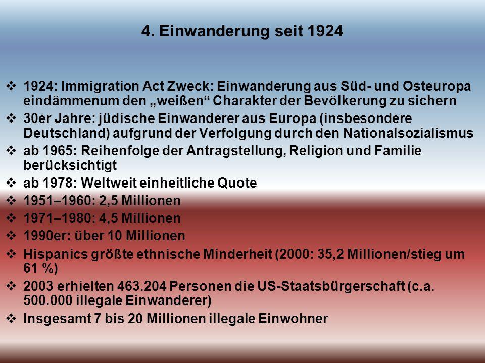 4. Einwanderung seit 1924 1924: Immigration Act Zweck: Einwanderung aus Süd- und Osteuropa eindämmenum den weißen Charakter der Bevölkerung zu sichern