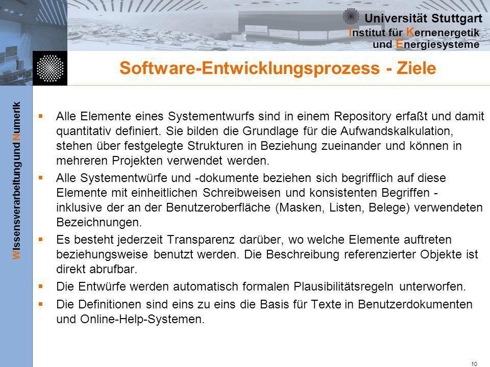 Universität Stuttgart Wissensverarbeitung und Numerik I nstitut für K ernenergetik und E nergiesysteme 10 Software-Entwicklungsprozess - Ziele Alle El