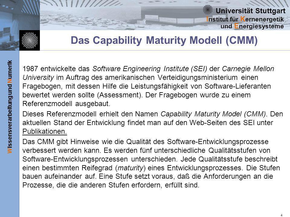 Universität Stuttgart Wissensverarbeitung und Numerik I nstitut für K ernenergetik und E nergiesysteme 4 Das Capability Maturity Modell (CMM) 1987 ent