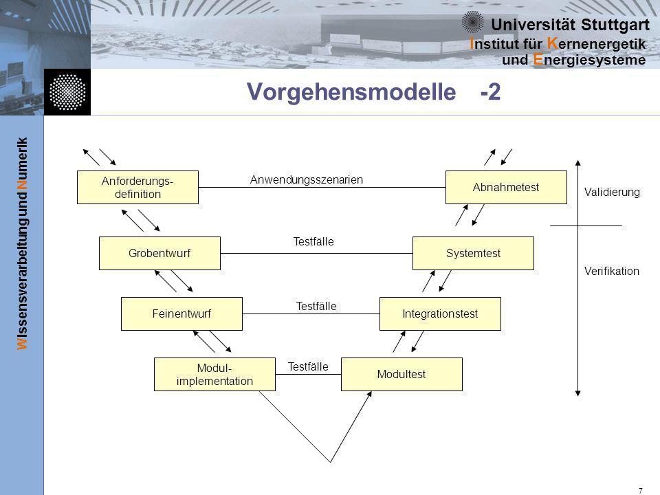 Universität Stuttgart Wissensverarbeitung und Numerik I nstitut für K ernenergetik und E nergiesysteme 7 Vorgehensmodelle -2 Anforderungs- definition