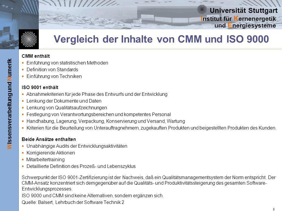 Universität Stuttgart Wissensverarbeitung und Numerik I nstitut für K ernenergetik und E nergiesysteme 8 Vergleich der Inhalte von CMM und ISO 9000 CM