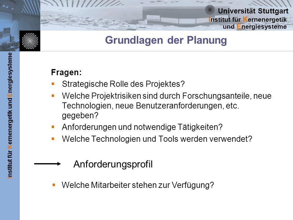 Universität Stuttgart Institut für Kernenergetik und Energiesysteme I nstitut für K ernenergetik und E nergiesysteme Grundlagen der Planung Fragen: Strategische Rolle des Projektes.