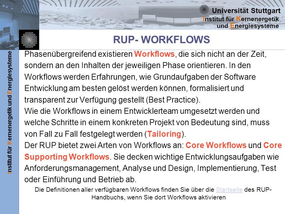 Universität Stuttgart Institut für Kernenergetik und Energiesysteme I nstitut für K ernenergetik und E nergiesysteme RUP- WORKFLOWS Phasenübergreifend existieren Workflows, die sich nicht an der Zeit, sondern an den Inhalten der jeweiligen Phase orientieren.