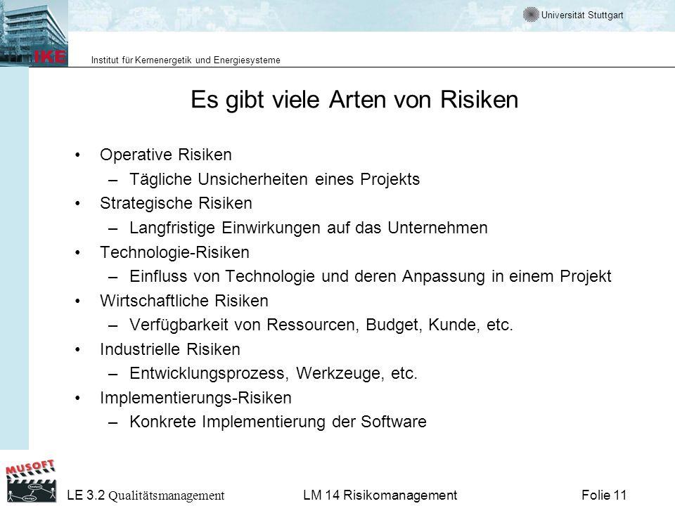 Universität Stuttgart Institut für Kernenergetik und Energiesysteme LE 3.2 Qualitätsmanagement Folie 11LM 14 Risikomanagement Es gibt viele Arten von