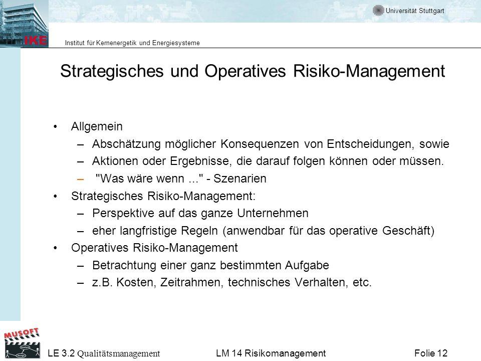 Universität Stuttgart Institut für Kernenergetik und Energiesysteme LE 3.2 Qualitätsmanagement Folie 12LM 14 Risikomanagement Strategisches und Operat