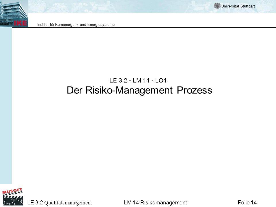 Universität Stuttgart Institut für Kernenergetik und Energiesysteme LE 3.2 Qualitätsmanagement Folie 14LM 14 Risikomanagement LE 3.2 - LM 14 - LO4 Der