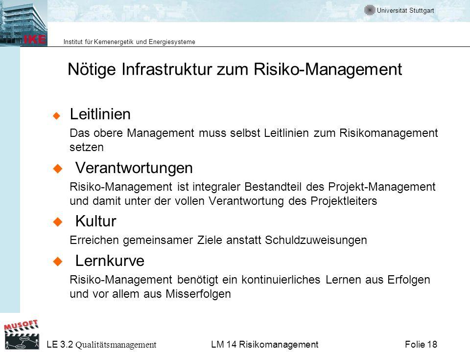 Universität Stuttgart Institut für Kernenergetik und Energiesysteme LE 3.2 Qualitätsmanagement Folie 18LM 14 Risikomanagement Nötige Infrastruktur zum