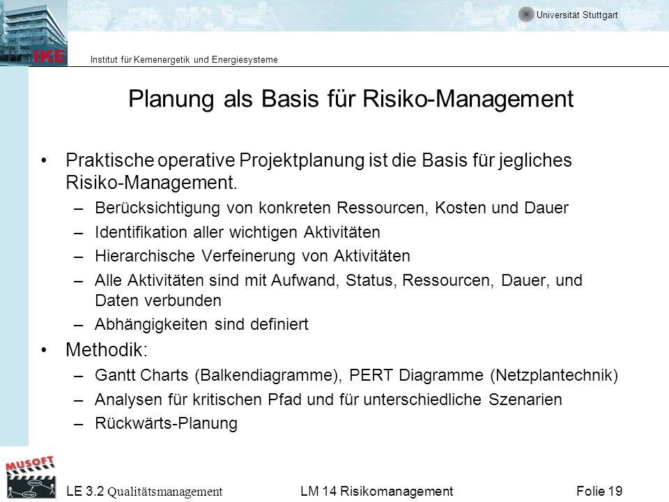 Universität Stuttgart Institut für Kernenergetik und Energiesysteme LE 3.2 Qualitätsmanagement Folie 19LM 14 Risikomanagement Planung als Basis für Ri