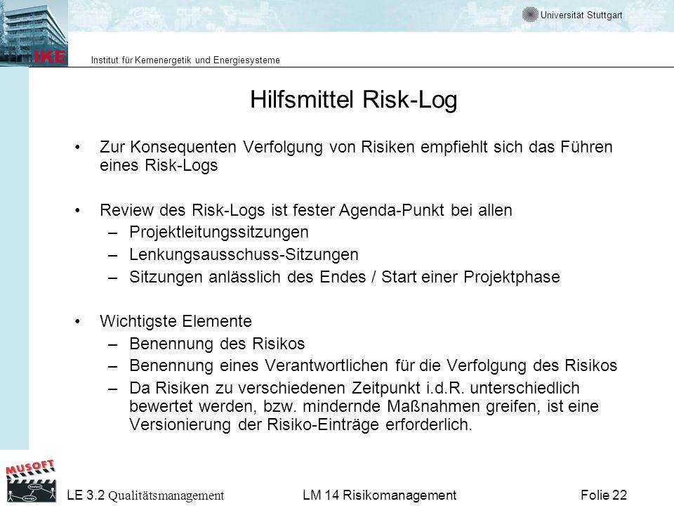 Universität Stuttgart Institut für Kernenergetik und Energiesysteme LE 3.2 Qualitätsmanagement Folie 22LM 14 Risikomanagement Hilfsmittel Risk-Log Zur