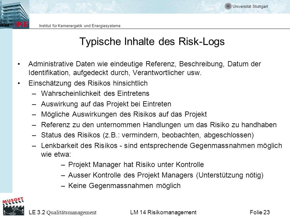 Universität Stuttgart Institut für Kernenergetik und Energiesysteme LE 3.2 Qualitätsmanagement Folie 23LM 14 Risikomanagement Typische Inhalte des Ris