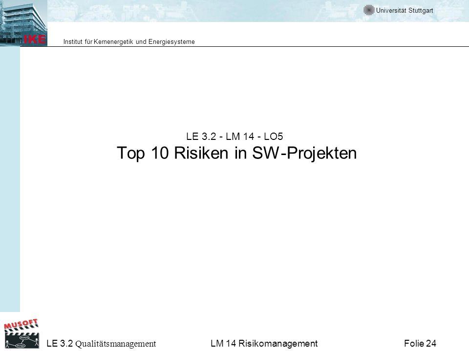 Universität Stuttgart Institut für Kernenergetik und Energiesysteme LE 3.2 Qualitätsmanagement Folie 24LM 14 Risikomanagement LE 3.2 - LM 14 - LO5 Top