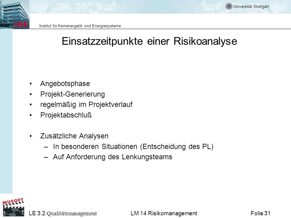 Universität Stuttgart Institut für Kernenergetik und Energiesysteme LE 3.2 Qualitätsmanagement Folie 31LM 14 Risikomanagement Einsatzzeitpunkte einer
