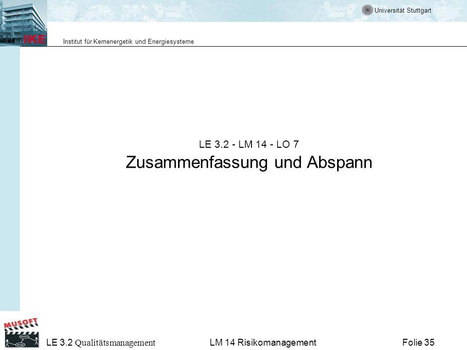 Universität Stuttgart Institut für Kernenergetik und Energiesysteme LE 3.2 Qualitätsmanagement Folie 35LM 14 Risikomanagement LE 3.2 - LM 14 - LO 7 Zu